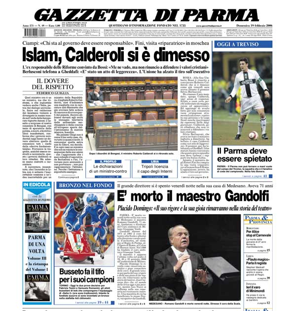 Gazzetta di Parma del 19 feb 2006 (pagg 1, 8 e 9) riporta la morte del Maestro Romano Gandolfi