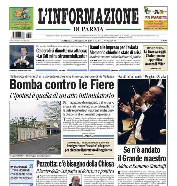 L'Informazione di Parma del 19 feb 2006 (pagg 1 e 24) riporta la morte del Maestro Romano Gandolfi