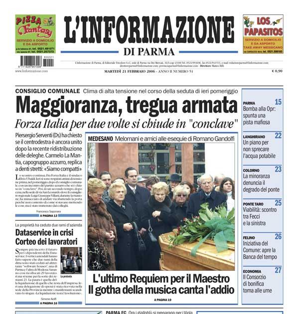 L'Informazione di Parma  del 21 feb 2006 riporta la cronaca del funerale di Romano Gandolfi
