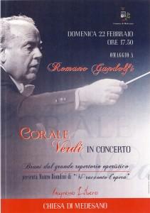 La locandina della serata della Corale Verdi in onore a Romano Gandolfi alla chiesa di Medesano