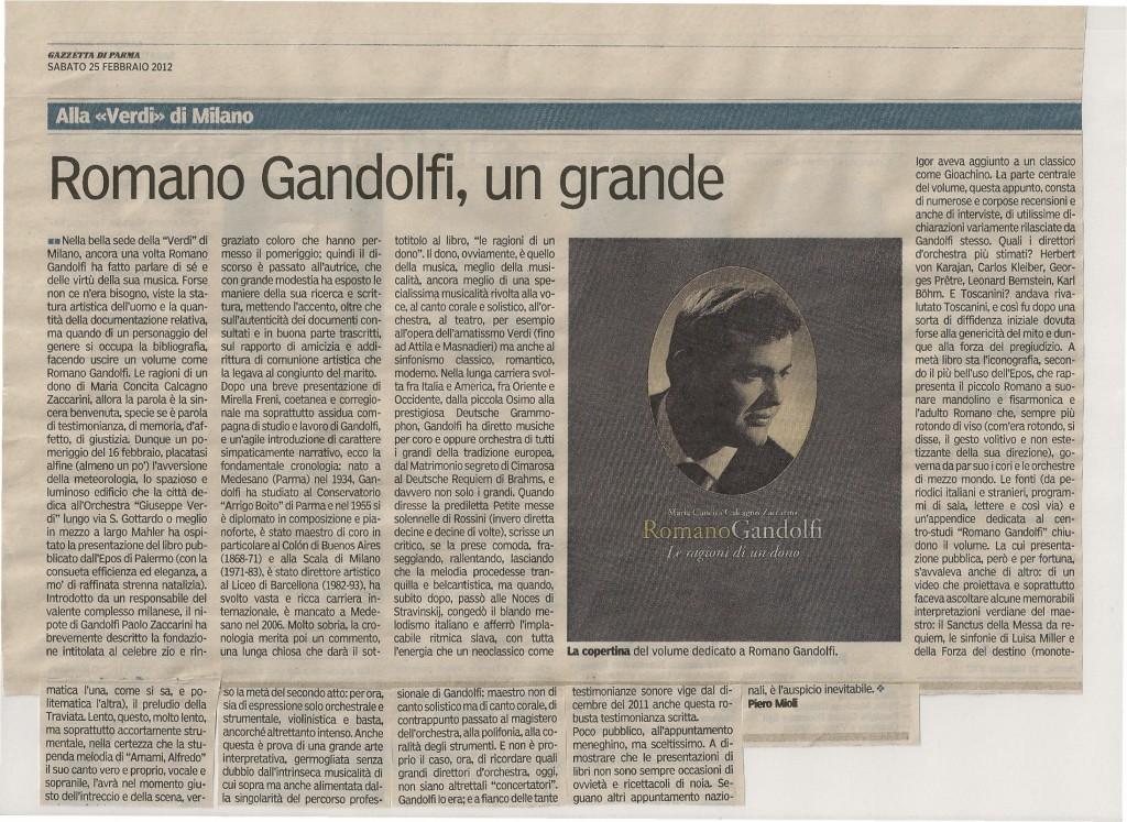 """La recensione del libro """"Romano Gandolfi, le ragioni di un dono"""" fatta dalla Gazzetta di Parma - 25 febbraio 2012 - di Piero Mioli"""
