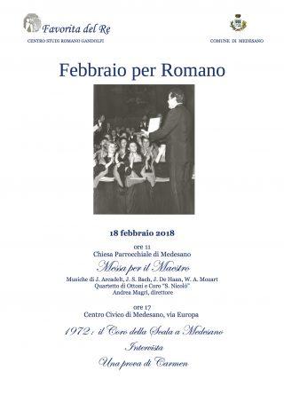 La locandina di Febbraio per Romano 2018, quando il coro della Scala arrivò a Medesano